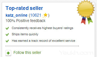 Top rated seller với 100% positive feedback trên ebay