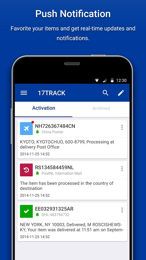 App 17track hiện đã hỗ trợ  android, bạn có thể tải về và sử dụng.
