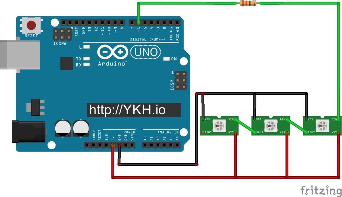 Sơ đồ mắc nối 3 LED ws2812 với Arduino Uno