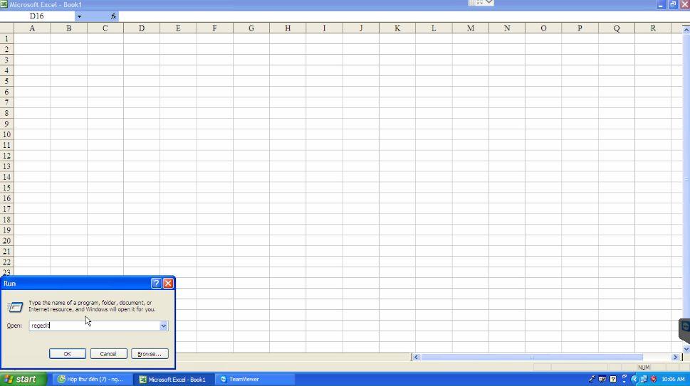 Excel bị mất hết thanh công cụ