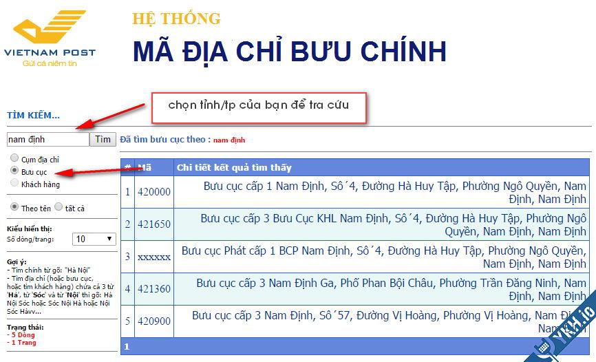 Truy cập vào website của tổng công ty bưu điện Việt Nam để tra cứu mã bưu chính chuẩn nhất